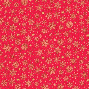 metallic gold snowflake print on red background fabric
