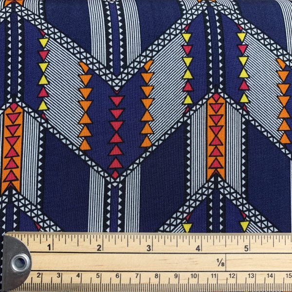 navy and orange viscose with ruler