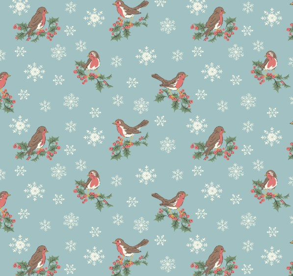robins on blue background