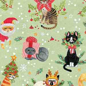 grumpy christmas cats on green background