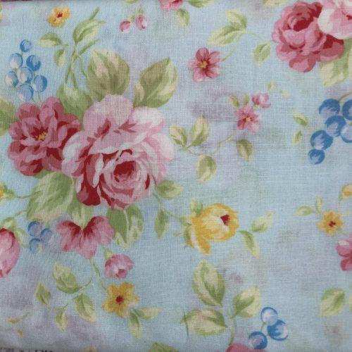 floral print on blue background