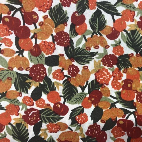 red orange and green fruit and berry print cotton lawn print