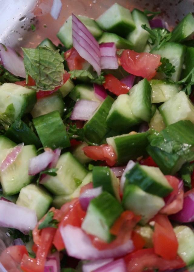 Falafel Salad with Vegan Shawarma Sauce