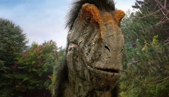 A T-Rex with feathered hair.