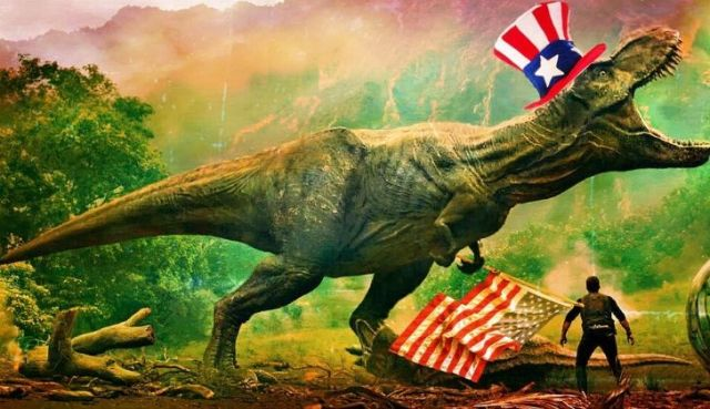 A T-Rex wearing a top hat with the American flag on it.