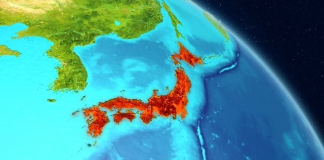 A map showing Japan in red