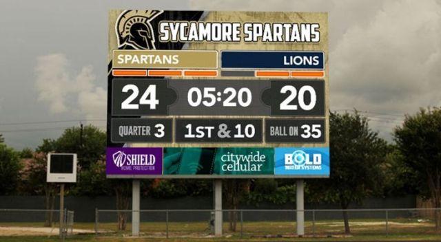 An American football score board