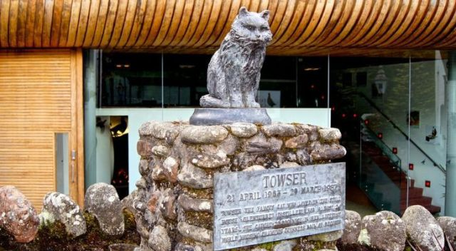 Towser Cat Statue with plaque