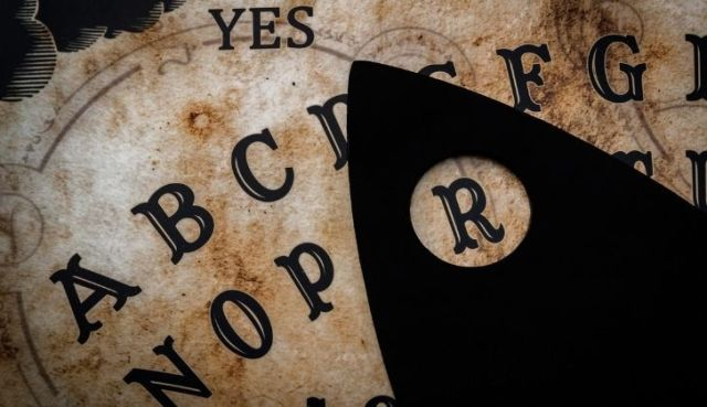 A closeup of a ouija board