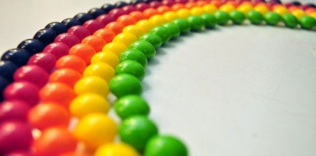 Skittles in the shape of a rainbow