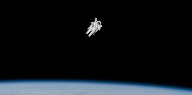 A man floating in space