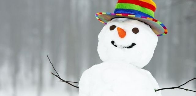 A happy smiling snowman