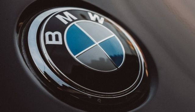 BMW logo on a car steering wheel
