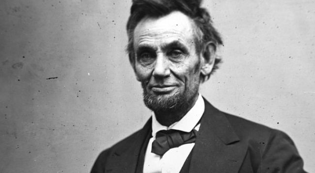 A black and white photo of Abraham Lincoln