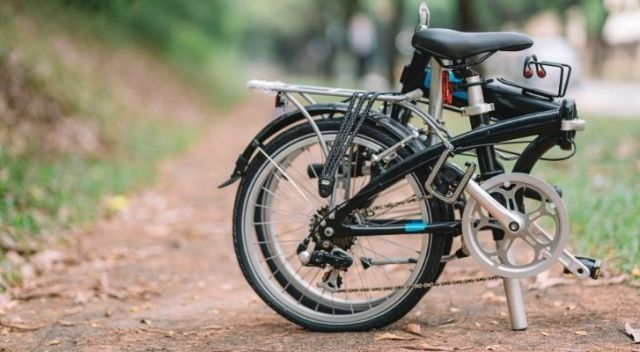 A folding bicycle tightly folded
