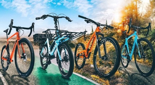 Four different typical types of bicycles
