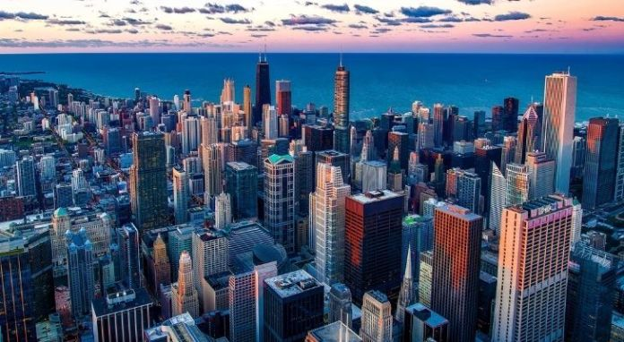 View from the sky of the densely populated of downtown Chicago