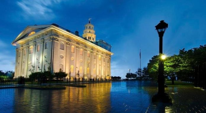 The Nauvoo building at night