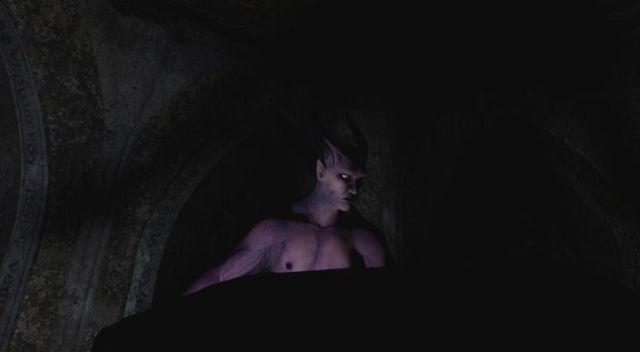 Dark picture with Satan hiding