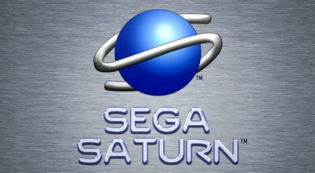 """Sega Saturn logo with the letter """"S"""" twisted around a blue sphere"""