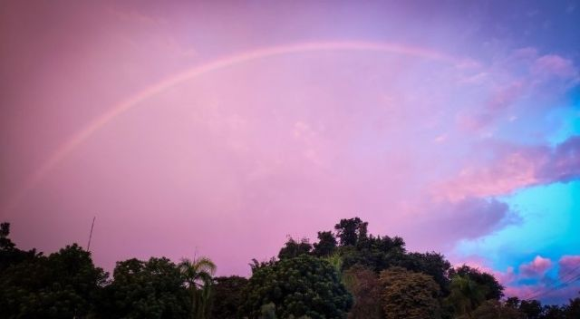Is the color pink actually in the rainbow?