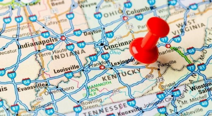A map with a pin on Kentucky