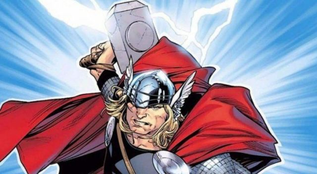 Thor holding his hammer