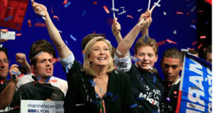 Marine Le Pen with supporters at an election rally in Lyon