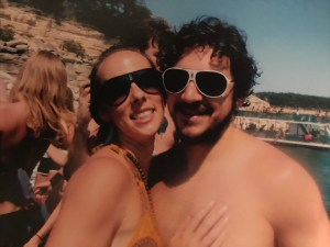 My husband and I on a party barge in Austin, Texas, on the day we met.