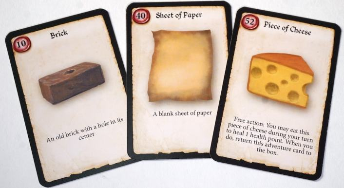 "Cards: ""Brick"", ""Sheet of Paper"", and ""Piece of Cheese""."