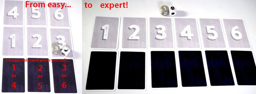 From easy... to expert! Left side: choose this card when you roll 1 or 4, 2 or 5, 3 or 6.