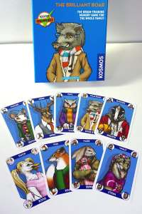 "Box labeled ""The Brilliant Boar: The brain-training memory game for the whole family.""  Nine different animal cards splayed out below the box."