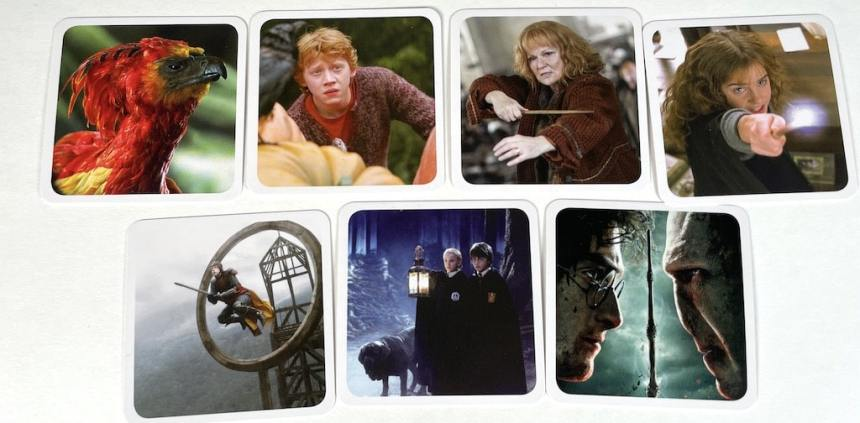 Seven cards from Codenames Harry Potter