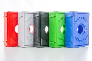 Card Caddy: red, white, black, green, blue