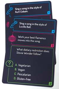 Sing It: Sing a song in the style of Kurt Cobain. Sing It: Sing a song in the style of Lucille Ball. Work It: Work your best flamenco moves into the song. Guess It: What dietary restriction does Stevie Wonder follow?