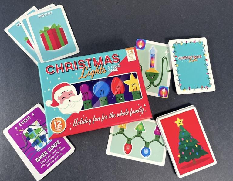 Christmas Lights game - present cards, bubble bulb card, tree card, power surge card