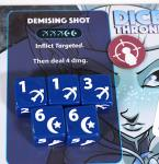 Moon Elf ability: Demising Shot. Dice showing 1, 1, 3, 6, 6.