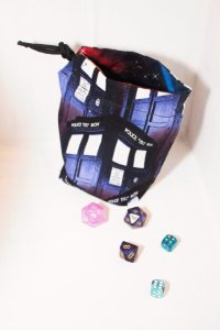 Tardis dice bag from Accalia Designs