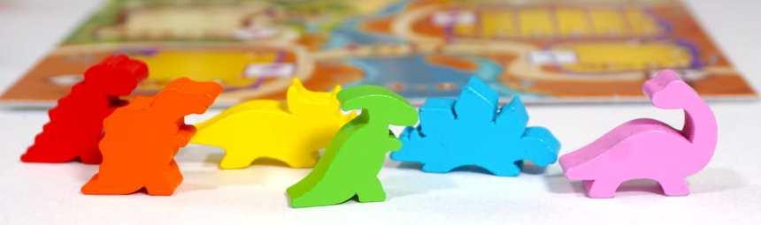 6 dinosaur meeples: red, orange, yellow, green, blue, pink