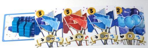 Blue player has four decoration cards: blue flags, red flags, blue flags, blue balloons