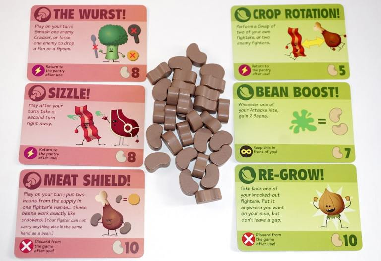 Food Fighters power cards: The Wurst, Sizzle, Meat Shield, Crop Rotation, Bean Boost, Re-Grow