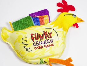 Funky Chicken pouch hides six colored decks of cards