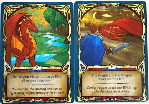 Fairy Tile cards: The Dragon visits the Large River; The Knight and the Dragon meet on the Plain