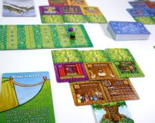 Forest of Fun in play. Two trees, each with five rooms. Special power card. Scoreboard.