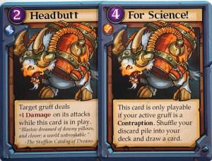 Gruff cards: Headbutt, For Science! - Blastov cards