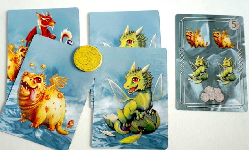 Mystery/all dragons card, 1 yellow dragon, 2 green dragons, 5 coin. An objective card that matches.
