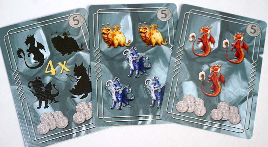 Incubation objective cards: 4 unique dragons + coins, 3 blue and 2 yellow, or 3 red + coins.