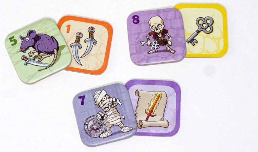 Rat/dagger, Skeleton/key, and Mummy/scroll
