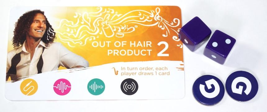Out of Hair Product event; two dice rolled and show two dots.