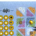 """Gifts - a blue triangle adjacent to a circle """"gift"""" is shaded in."""